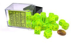 Bloque de 36 D6 Chessex Vortex Electric Yellow/green Dice Block