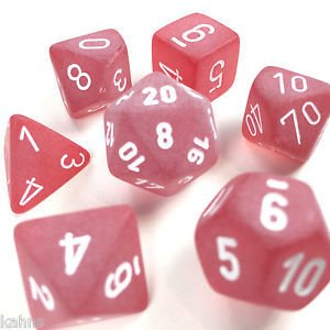 Set de 7 Dados Chessex Frosted Red/white - EL OGRO ALEGRE