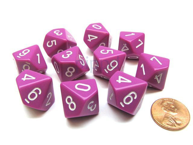 Set de 10 D10 Chessex Opaque Light Purple/white
