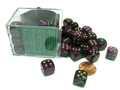 Bloque de 36 D6 Chessex Gemini Green-Purple/gold 12mm