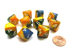 Set de 10 D10 Chessex Gemini Masquerade-Yellow/white