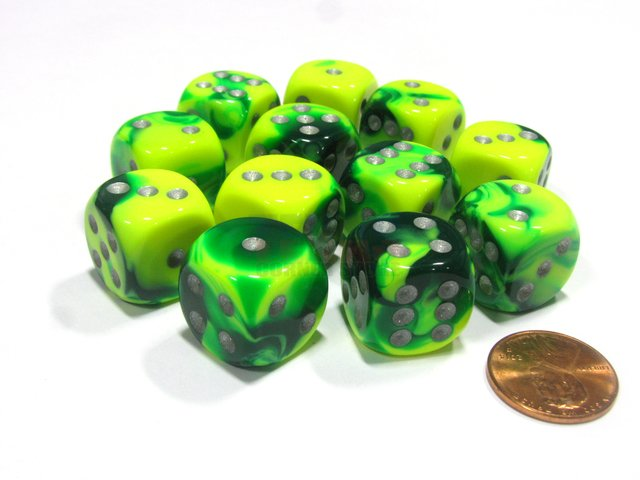 Bloque de 12 D6 Chessex Gemini Green-Yellow/silver 16mm