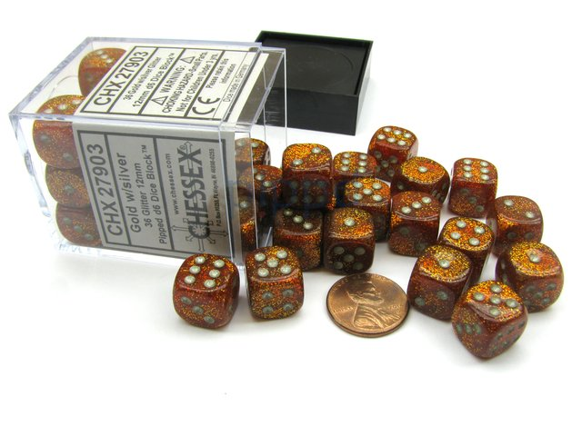 Bloque de 36 D6 Chessex Glitter Gold/silver 12mm
