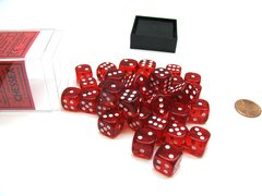 Bloque de 36 D6 Chessex Translucent Red/white 12mm