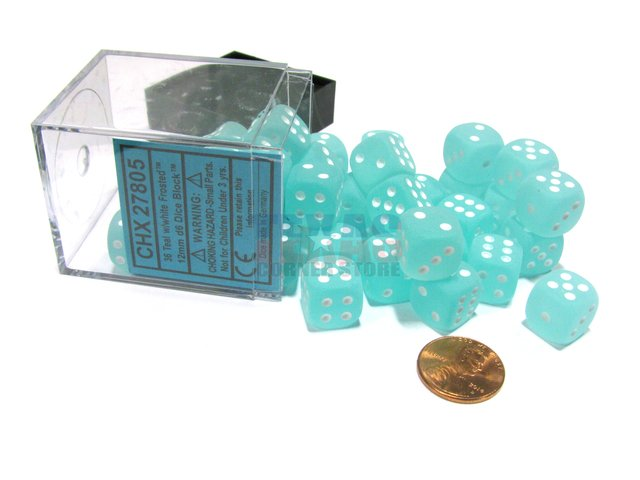Bloque de 36 D6 Chessex Frosted Teal/white 12mm