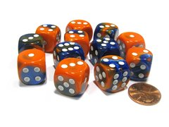 Bloque de 12 D6 Chessex Gemini Blue-Orange/white 16mm