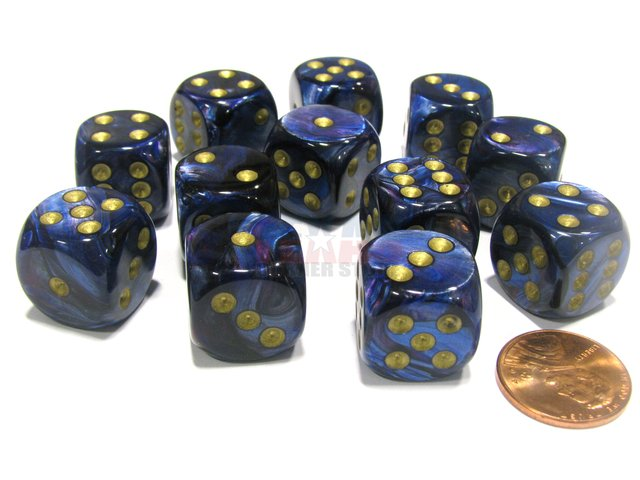 Bloque de 12 D6 Chessex Scarab Royal Blue/gold 16mm