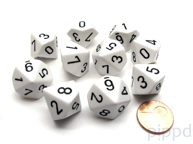 Set de 10 D10 Chessex Opaque White/black