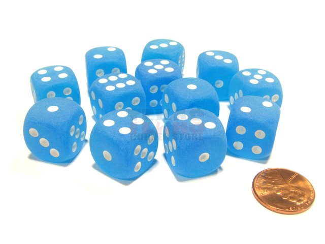 Bloque de 12 D6 Chessex Frosted Caribbean Blue/white 16mm
