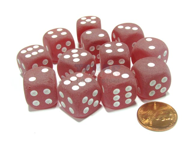 Bloque de 12 D6 Chessex Frosted Red/white 16mm