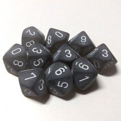 Set de 10 D10 Chessex Frosted Smoke/white en internet