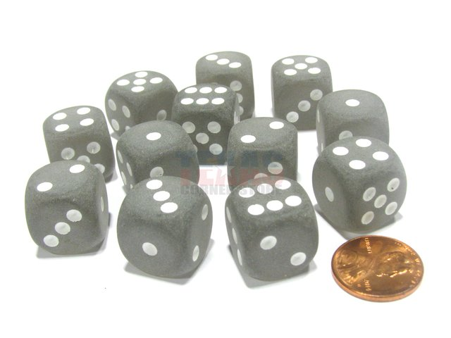 Bloque de 12 D6 Chessex Frosted Smoke/white 16mm