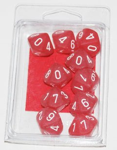 Set de 10 D10 Chessex Frosted Red/white - EL OGRO ALEGRE