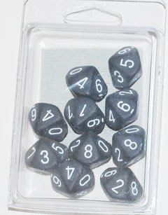 Set de 10 D10 Chessex Frosted Smoke/white - EL OGRO ALEGRE