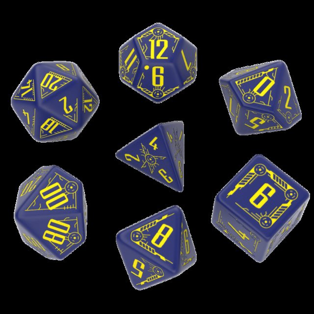 Set de 7 Dados Q-Workshop Galactic Navy & Yellow - EL OGRO ALEGRE