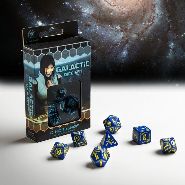 Set de 7 Dados Q-Workshop Galactic Navy & Yellow - tienda online