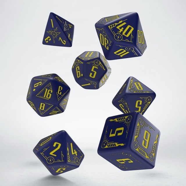 Set de 7 Dados Q-Workshop Galactic Navy & Yellow - comprar online