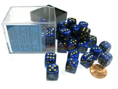 Bloque de 36 D6 Chessex Gemini Black-Blue/gold 12mm