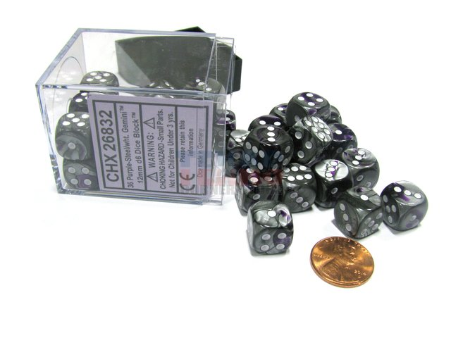 Bloque de 36 D6 Chessex Gemini Purple-Steel/white 12mm