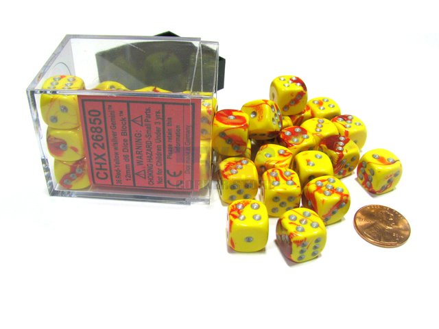 Bloque de 36 D6 Chessex Gemini Red-Yellow/silver 12mm
