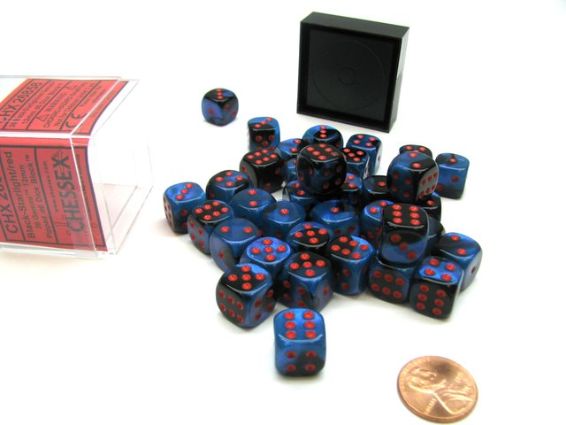 Bloque de 36 D6 Chessex Gemini Black-Starlight/red 12mm