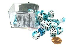 Bloque de 36 D6 Chessex Gemini Teal-White/black 12mm