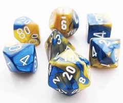 Set de 7 Dados Chessex Gemini Blue-Gold/White