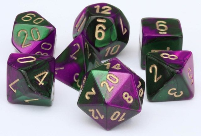 Set de 7 Dados Chessex Gemini Green-Purple/gold