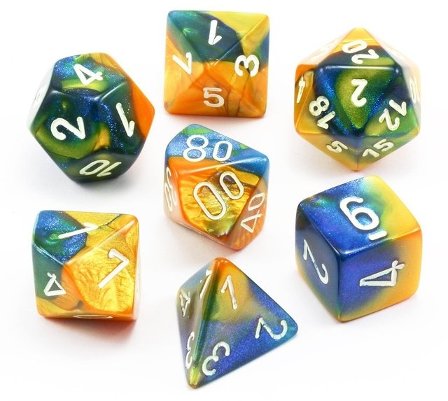 Set de 7 Dados Chessex Gemini Masquerade-Yellow/white