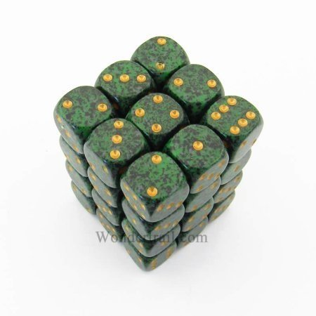 Bloque de 36 D6 Chessex Speckled Golden Recon 12mm - comprar online