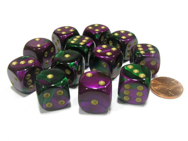 Bloque de 12 D6 Chessex Gemini Green-Purple/Gold 16mm