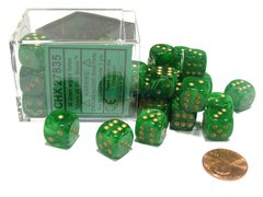 Bloque de 36 D6 Chessex Vortex Green/gold 12mm