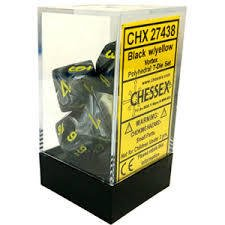 Set de 7 Dados Chessex Vortex Black/yellow en internet
