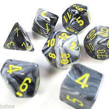 Set de 7 Dados Chessex Vortex Black/yellow - EL OGRO ALEGRE