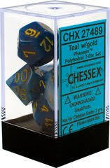 Set de 7 Dados Chessex Phantom Teal/gold - EL OGRO ALEGRE