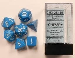 Set de 7 Dados Chessex Opaque Light Blue/white - EL OGRO ALEGRE