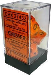 Set de 7 Dados Chessex Vortex Orange/black - comprar online
