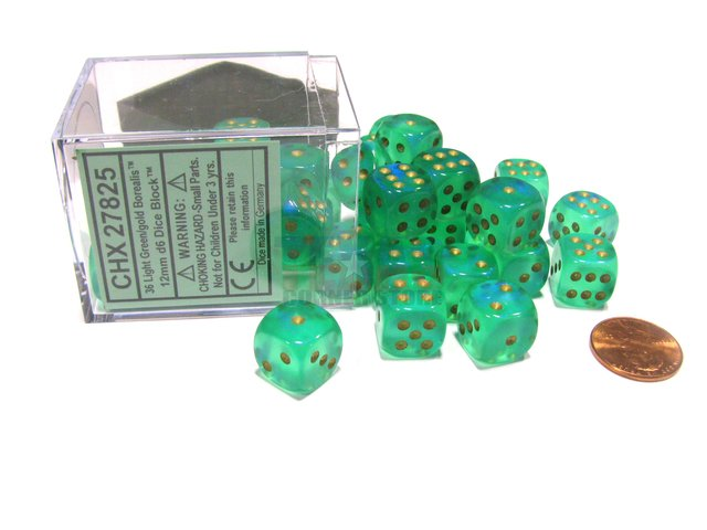 Bloque de 36 D6 Chessex Borealis Light Green/gold 12mm