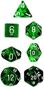 Set de 7 Dados Chessex Miniatura - Translucent Green with White - tienda online