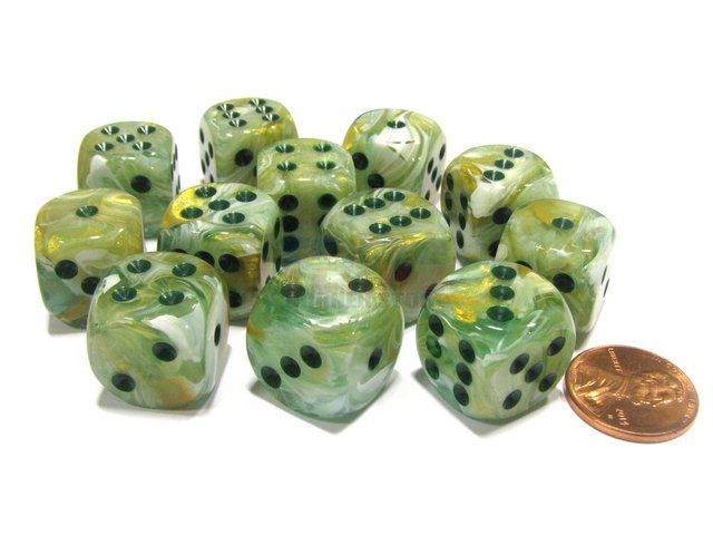 Bloque de 12 D6 Chessex Marble Green/dark green 16mm
