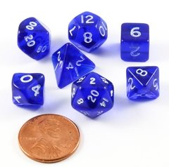 Set de 7 Dados Chessex Miniatura - Translucent blue with white