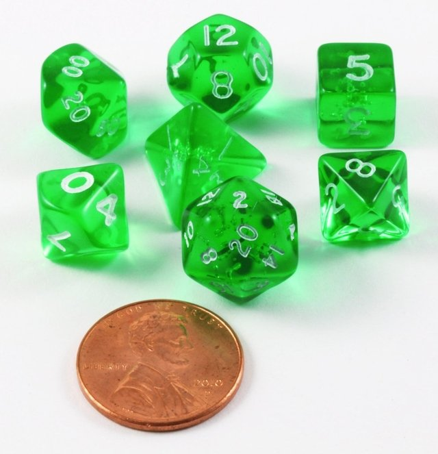 Set de 7 Dados Chessex Miniatura - Translucent Green with White