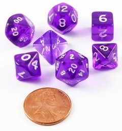 Set de 7 Dados Chessex Miniatura - Translucent Purple with White