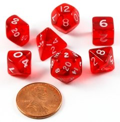 Set de 7 Dados Chessex Miniatura - Translucent Red with White