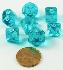 Set de 7 Dados Chessex Miniatura - Translucent Teal with White