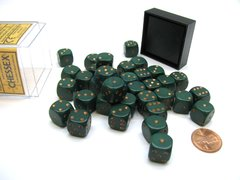 Bloque de 36 D6 Chessex Opaque Dusty Green/copper 12mm