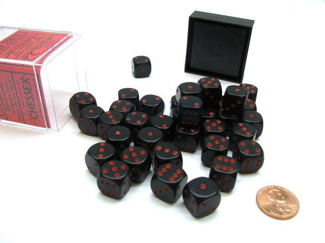 Bloque de 36 D6 Chessex Opaque Black/red 12mm