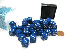 Bloque de 36 D6 Chessex Opaque Blue/white 12mm
