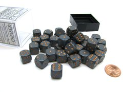 Bloque de 36 D6 Chessex Opaque Dark Grey/copper 12mm