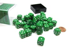 Bloque de 36 D6 Chessex Opaque Green/white 12mm